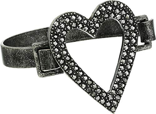 - Steve Madden Women's Open Heart Design Gunmetal-Tone Bangle Bracelet