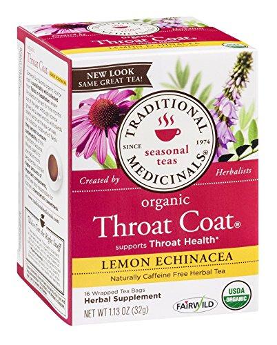 Traditional Medicinals Organic Lemon Echinacea Throat Coat Herbal Tea, 16-Count Wrapped Tea Bags (Pack of 6) ( Value Bulk Multi-pack)