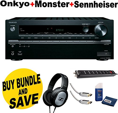 Onkyo TX-NR646 7.2-Channel Network A/V Receiver + Sennheiser HD201 Lightweight Over-Ear Binaural Headphones + Monster Home Theater Accessory Bundle Two Monster 6 ft. High Speed HDMI Cables,Monster Home Theater Power Center and Screen Cleaning Kit + Cloth Bundle