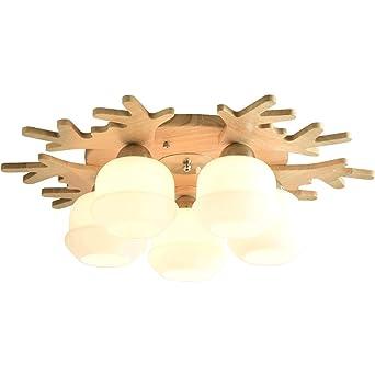 Lámpara de techo Deer E27 Five Heads, lámpara de dormitorio ...