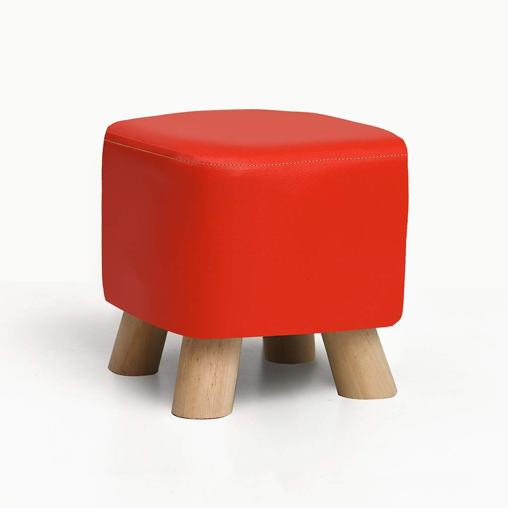RED GLJJQMY Solid Wood shoes Bench Fashion shoes Stool Creative Square Stool Fabric Stool Stool Sofa Stool Coffee Table Bench Home Stool Wooden Bench (color   Brown)