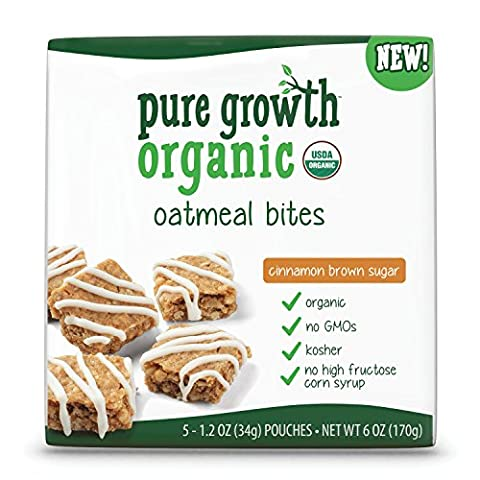 Pure Growth Organic, Oatmeal Bites, Brown Sugar Cinnamon, 6 Ounces (Pack of 5) - Cinnamon Organic Sugar
