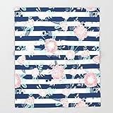 Society6 Florals bouquet navy stripe modern classic pattern print nautical preppy chic kids children college Throw Blankets 88'' x 104'' Blanket