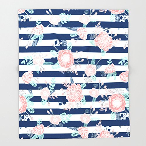 Society6 Florals bouquet navy stripe modern classic pattern print nautical preppy chic kids children college Throw Blankets 88'' x 104'' Blanket