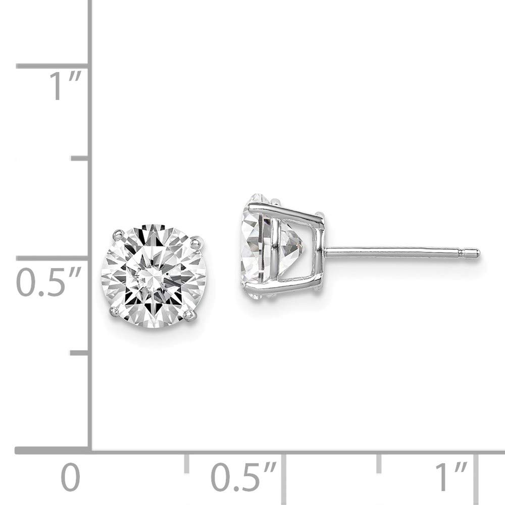 7mm x 7mm Solid 925 Sterling Silver Round Cubic Zirconia CZ 7mm Post Studs Earrings