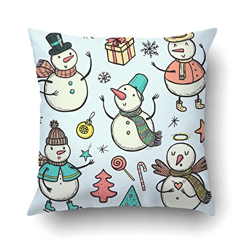Emvency Pillowcases Xmas Dec Doodle Snowman With Christmas Tree Candy Snowflakes Gifts Funny Snowmen In Different Costumes Pillow Case Cushion Cover Case Throw Pillow Case Square 16x16 - Black Small Hat Victorian French