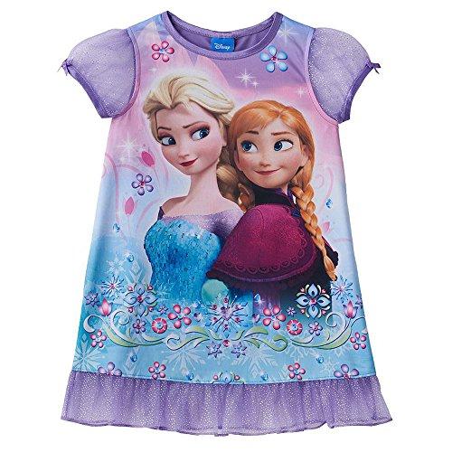 Disney's Frozen Elsa & Anna Toddler Girls' Purple Glitter Nightgown (4T)