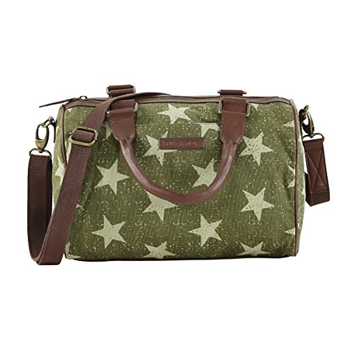 Bella Taylor Vintage Oliver Green Reverse Print Star Olive Satchel with Removable Strap and Adjustable Shoulder Drop Slip and Zip Pockets H 8 Base: W 12 x D 5.5 Inches - Bella Satchel