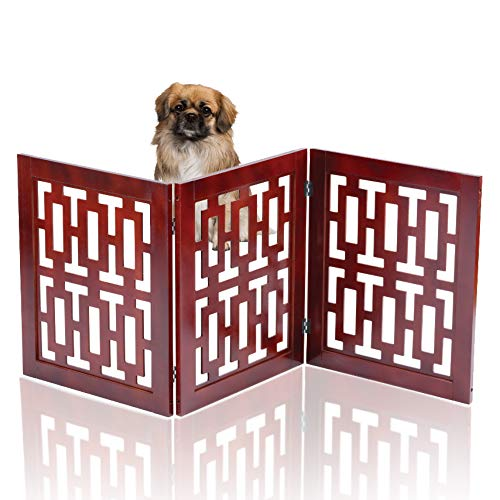- Safety Pet Gate for Dogs – Free-Standing & Foldable - Decorative Scroll Wooden Fence Barrier – Stairs & Doorways No Tools Required (Modern)