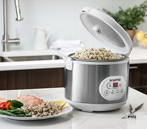 Gourmia GRC870 20 Cup (Cooked) Rice Cooker and Steamer For Grains and Hot Cereal - Steam Basket - Stainless Steel - 6 Preset Modes and Settings Digital Display - Keep Warm - Timer - Bonus Cookbook