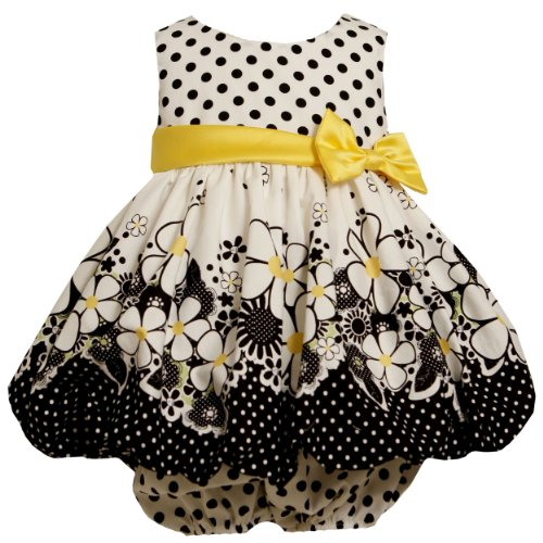 Bonnie Jean Baby/INFANT 12M-24M 2-Piece BLACK WHITE YELLOW FLORAL DOT BORDER PRINT BUBBLE SKIRT Special Occasion Flower Girl Party Dress