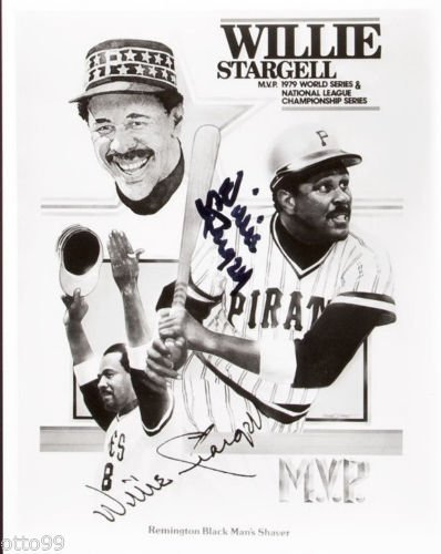 WILLIE STARGELL SIGNED 8x10 PIRATES 1979 WORLD SERIES NLCS MVP REMINGTON SHAVER (Remington Rose)