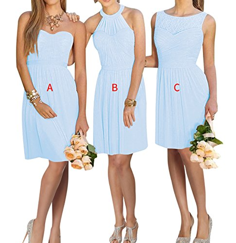 XJLY Lovelybride A Line Short Chiffon Prom Bridesmaid Dress Homecoming Party Dress Light Blue 14 ()