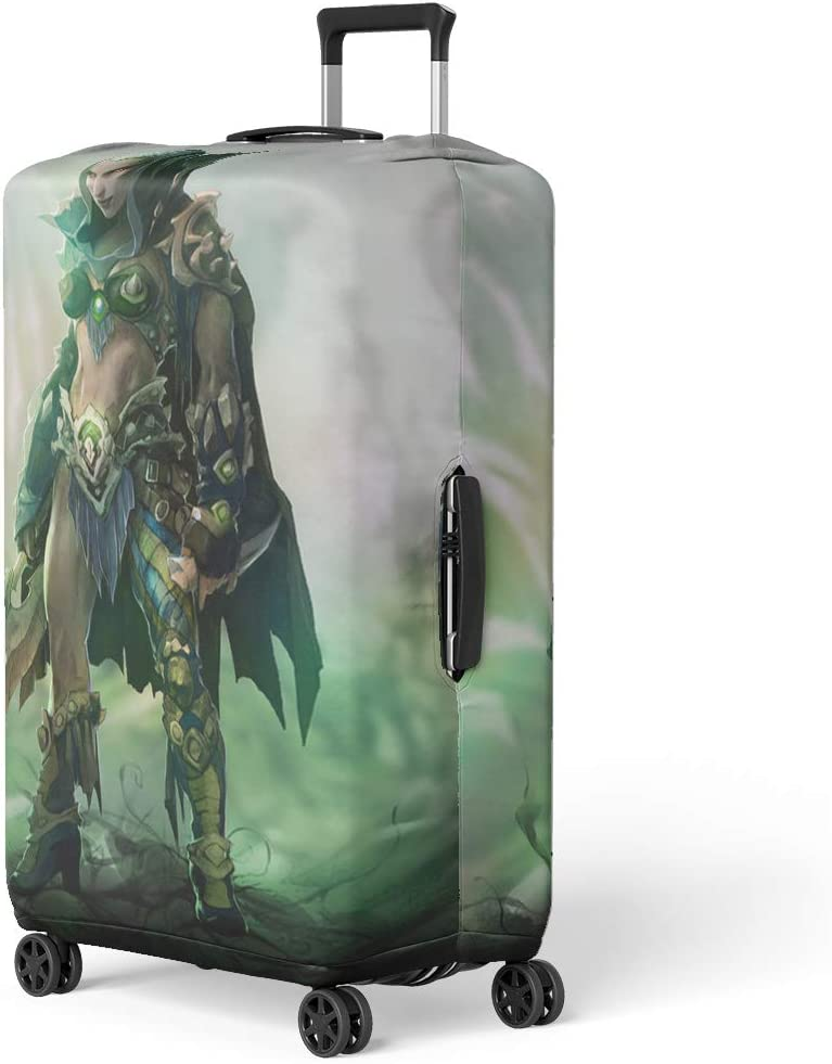 Pinbeam Luggage Cover Fantasy of Dark Elf Beautiful Woman Warrior Wearing Travel Suitcase Cover Protector Baggage Case Fits 18-22 inches
