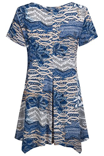 Nandashe Plus Size Clothes Women Summer, Modern Miss Sexy Scoop Collar Stretchy Cool Tunic Long Tops Capris Home Wear Blue Beige XX-Large by Nandashe (Image #1)