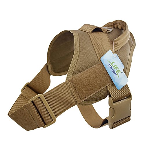 Lifeunion Tactical Dog Vest Nylon Patrol Waterproof K9 Service Dog Vest Harness for Training Hiking Outdoor Sports (Coyote Brown, S)