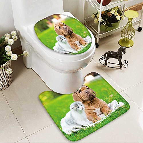 aolankaili 2 Piece Shower Mat set Bordeaux puppy dog lying with small kitten on green grass Custom made Rug ()