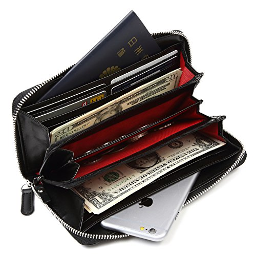 Lustear Women's Zip Around Long Wallets With Zipper Coin Purse (Black×Red) by Lustear (Image #2)