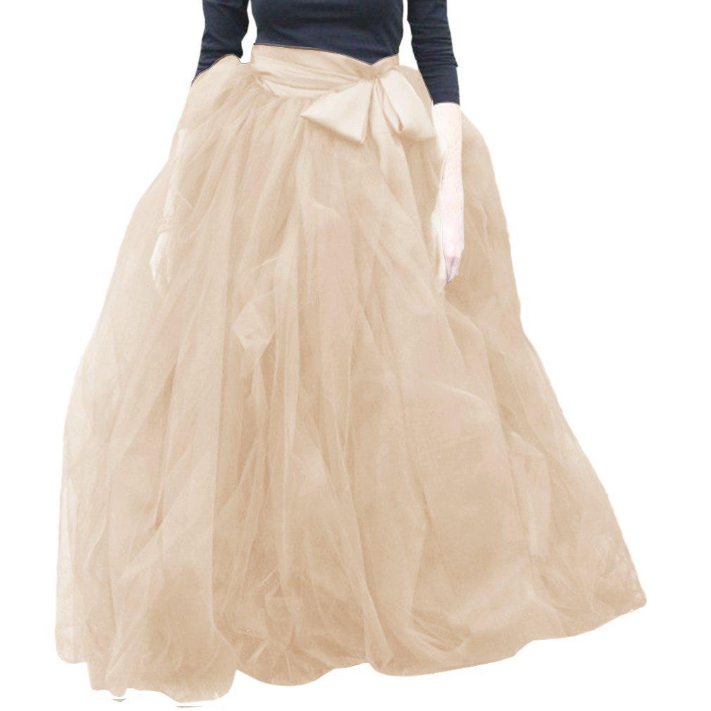 Champagne Wishopping Womens Long Ruffles Tutu Tulle Skirt