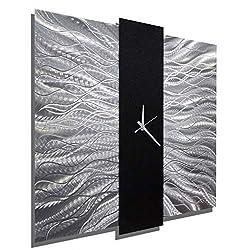 Jon Allen Metal Art Large 24 Inch Decorative Wall Clock, Contemporary Modern Metal Wall Art, Elegant Mechanism