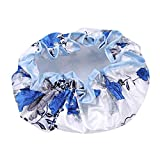 HAOWANG Cute Shower Cap Double Layer Print Waterproof Shower Cap Soft Satin Girls Hair Care Hat Bathing Accessories Blue White Porcelain 6#