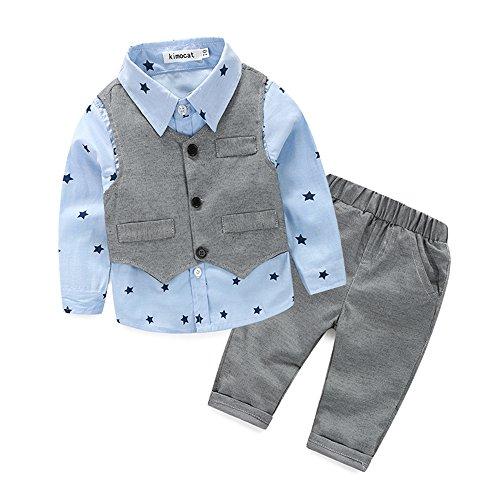 d9767ba90048b Kimocat Baby Boys' Clothes Set Gentleman Cute Long Sleev +Vest+Pants Outfits