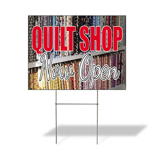 Plastic Weatherproof Yard Sign Quilt Shop Now Open Quilt General Business White Quilt Shop for Sale Sign Multiple Quantities Available 18inx12in One Side Print One Sign
