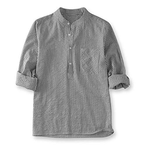 Realdo Mens Striped Shirt,Cotton Linen,Men's Casual Button Down T Shirt Fit Slim Top Black ()