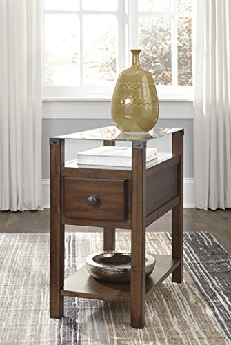 Signature Design By Ashley Furniture - T217-533 Diamenton - Contemporary Style - Chair Side End Table - Rectangular - Dark Brown Finish