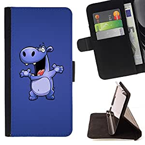 Momo Phone Case / Flip Funda de Cuero Case Cover - Dibujo Cartoon Hippo grande Animal Danza - Samsung Galaxy Core Prime