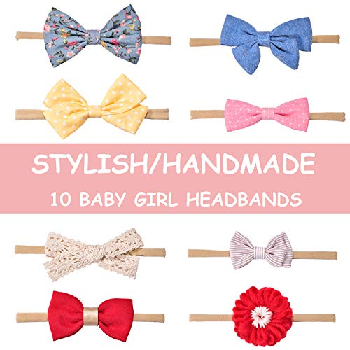 Baby Girl Headbands and Bows, Hair Accessories for Newborn Infant Toddler 10 Pack
