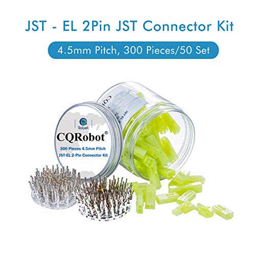 300 Pieces 4.5mm Pitch JST - EL JST Connector Kit. 4.5mm Pitch Male and Female Pin Header, JST EL - 2 Pin Housing JST Adapter Cable Connector Socket Male and Female, Crimp DIP Kit.
