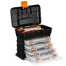 VonHaus Utility Tool Storage Box - Portable Arts Crafts Organizer Case with 4 Drawers & Adjustable Dividers (10.9 x 10.1 x 6.9 inches - Black/ Orange)