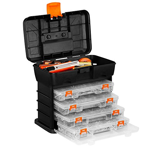 VonHaus Very Small Utility Tool Storage Box - Portable Arts Crafts Organizer Case with 4 Drawers & Adjustable Dividers (10.9 x 10.1 x 6.9 inches - Black/ Orange)