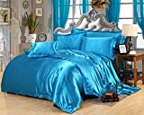 MoonLight Bedding Ultra Silky Soft and luxurious Satin 4-Piece Queen Bed Sheet Set 15'' deep - Turquoise Blue