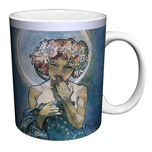(Alphonse Mucha Moon Fine Art Nouveau Ceramic Gift Coffee (Tea, Cocoa) 11 Oz. Mug)