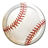 Creative Converting 24 Count Sports Fanatic Baseball Sturdy Style Paper Lunch Plates, 7, White