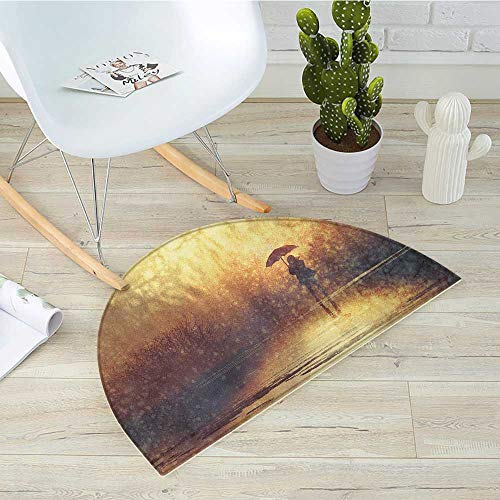 Modern Half Round Door mats Silhouette of Lonely Woman Under Rain with Umbrella Dramatic Paint Picture Bathroom Mat H 27.5