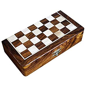 Two In One Wooden Board Game For Adults Chess Backgammon 8 X 8 Inches by ShalinIndia