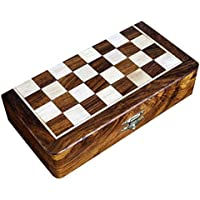 Shalinindia Two in One Wooden Board Game for Adults Chess Backgammon (8x8-inch)