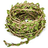 UCLEVER Artificial Vine Natural Hemp Rope Fake Green Ivy Leaves Foliage Leaf Plant for Macrame Wall Decor Garland Rustic Wedding Home Garden Decor Party Supplies (33FT)
