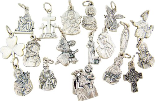 Silver Tone Assorted Saint and Cross Petite Catholic Charm Pendant Medals, Set of 18