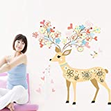 Stylish Sika Deer Wall Decal Home Sticker House Decoration WallPaper Removable Living Dinning Room Bedroom Kitchen Art Picture Murals DIY Stick Girls Boys kids Nursery Baby Playroom Decoration