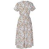 TWGONE Elastic Waist Dress Chiffon Womens V Neck