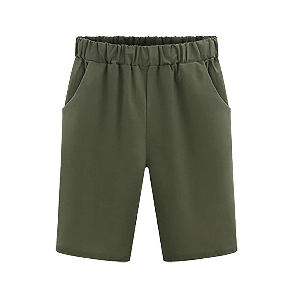 Bermudas Mujer Verano Moda Color Solido Casual Anchos Cintura Elastica Plus Size Pantalones Cortos Shorts Tallas Grandes Pantalones Cortos