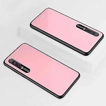 KSHOP Compatible con Funda para Xiaomi mi 9, Estuche Carcasa Forro Ultra Delgada TPU Parachoques, Trasera de Vidrio Templado - Rosado