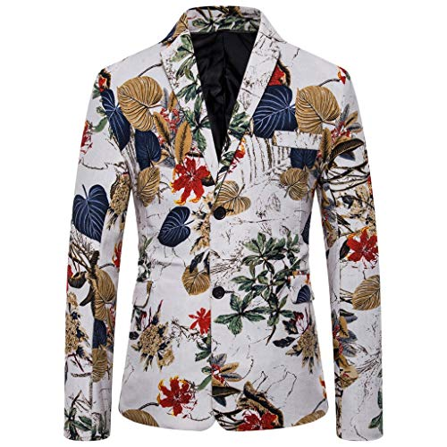 Mens Suit Jacket Slim Fit Printed Two Button Floral Casual Blazer Sports Coat White