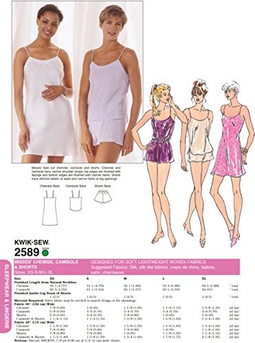 Kwik Sew Pattern 2589 Misses Camisole and Shorts and Chemise Dress, Size XS-S-M-L-XL