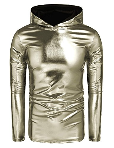 COOFANDY Men's Nightclub Style Metallic Shiny Casual Long Sleeve Pullover Hoodie,Army Green,XX-Large by COOFANDY