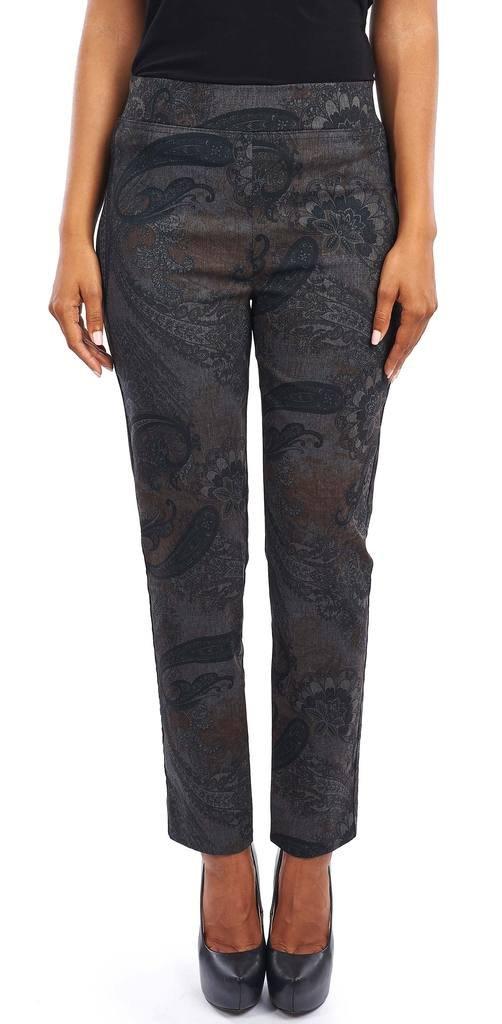 Joseph Ribkoff Black & Brown Paisley Print Cropped Pants Style 163786 - Size 12 by Joseph Ribkoff
